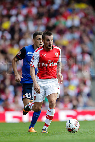 03.08.2014. London, England. Emirates Cup.  Arsenal versus AS Monaco.   Arsenal  defender Mathieu DEBUCHYin action.  With Monaco winning 0-1 and Valencia winning earlier in the day, Valencia won the tournament trophy.