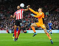 Lincoln City's Matt Green vies for possession with Chesterfield's Joe Anyon<br /> <br /> Photographer Chris Vaughan/CameraSport<br /> <br /> The EFL Sky Bet League Two - Lincoln City v Chesterfield - Saturday 7th October 2017 - Sincil Bank - Lincoln<br /> <br /> World Copyright &copy; 2017 CameraSport. All rights reserved. 43 Linden Ave. Countesthorpe. Leicester. England. LE8 5PG - Tel: +44 (0) 116 277 4147 - admin@camerasport.com - www.camerasport.com