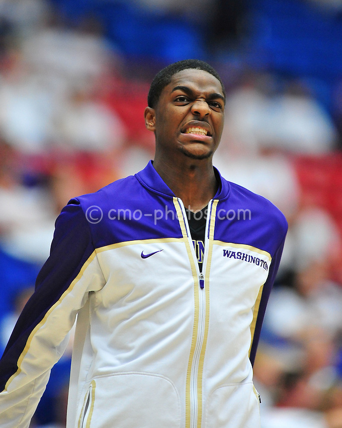 Feb 19, 2011; Tucson, AZ, USA; Washington Huskies forward Justin Holiday (22) prior to a game against the Arizona Wildcats at the McKale Center.  The Wildcats won 87-86.