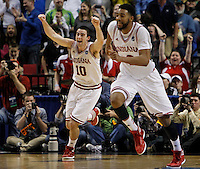 Indiana University forward Will Sheehey (10) and  forward Christian Watford celebrate win over Virginia Commonwealth University after their men's NCAA basketball game in Portland, Oregon,  March 17, 2012.  REUTERS/Steve Dipaola (UNITED STATES)