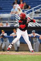 Batavia Muckdogs shortstop Garvis Lara (34) at bat during a game against the West Virginia Black Bears on June 28, 2016 at Dwyer Stadium in Batavia, New York.  Batavia defeated West Virginia 3-1.  (Mike Janes/Four Seam Images)