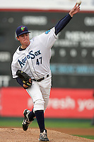 Everett Aquasox pitcher Ben Whitmore #47 pitches against the Vancouver Canadians at Everett Memorial Stadium on August 8, 2011 in Everett,Washington. Everett defeated Vancouver 5-1.(Larry Goren/Four Seam Images)
