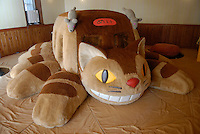 "A ""neko bus"" soft climbing frame for children. The neko bus is a character from My Neighbor Totoro. The Ghibli Museum in Mitaka, western Tokyo opened in 2001. It was designed by animator Miyazaki Hayao and receives around 650,500 visitors each year."