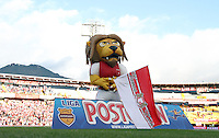BOGOTA -COLOMBIA, 9-AGOSTO-2014. Monaguillo , mascota de Independiente  Santa Fe  durante el   contra  Independiente Medellin  durante partido   de La Liga Postobón cuarta  fecha 2014-2. Estadio  Nemesio Camacho El Campin   / Monaguillo mascot of  Independiente Santa Fe during match against  Independiente Medellin   the La Liga match for Postobón fourth date 2014-2. Estadio Nemesio Camacho El Campin . Photo: VizzorImage /Felipe Caicedo / Staff