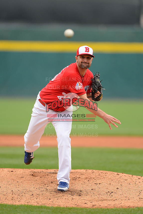 Buffalo Bisons pitcher Buddy Carlyle #26 during a game against the Norfolk Tides on May 9, 2013 at Coca-Cola Field in Buffalo, New York.  Norfolk defeated Buffalo 7-1.  (Mike Janes/Four Seam Images)