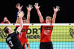 14.09.2019, Paleis 12, BrŸssel / Bruessel<br />Volleyball, Europameisterschaft, Deutschland (GER) vs. Belgien (BEL)<br /><br />Angriff Sam Deroo (#3 BEL) - Block / Doppelblock Lukas Kampa (#11 GER), Anton Brehme (#12 GER)<br /><br />  Foto © nordphoto / Kurth