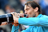 Rafael Nadal of Spain drinks spumante at the end of the final match played against Novak Djokovic of Serbia. Rafael Nadal won 6-0, 4-6, 6-1 <br /> Roma 19/05/2019 Foro Italico  <br /> Internazionali BNL D'Italia Italian Open <br /> Photo Andrea Staccioli / Insidefoto