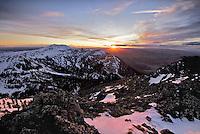 The setting sun illuminates the Centennial Range which forms the border between Idaho and Montana.