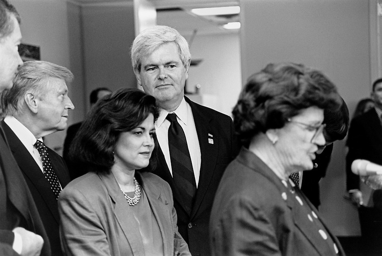 "Speaker of the House Rep. Newton Leroy ""Newt"" Gingrich, R-Ga., Rep. Elmer Greinert ""Bud"" Shuster, R-Pa., Rep. Susan G. Golding, R-Calif., and Rep. Barbara Farrell Vucanovich, R-Nev. July 27, 1995 (Photo by Laura Patterson/CQ Roll Call)"