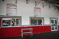 May 30, 2013; Englishtown, NJ, USA: General view of the pizza snack stand of Raceway Park beneath the grandstands. Mandatory Credit: Mark J. Rebilas-