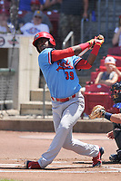 Peoria Chiefs designated hitter Elehuris Monero (39) swings at a pitch against the Cedar Rapids Kernels at Veterans Memorial Stadium on June 17, 2018 in Cedar Rapids, Iowa. The Chiefs won 12-3.  (Dennis Hubbard/Four Seam Images)