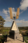 Israel, Mount Carmel. Memorial to pilot Moti Sharon overlooking Kerem Maharal