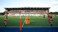 20130803 Copyright onEdition 2013 ©<br /> Free for editorial use image, please credit: onEdition.<br /> <br /> General view of Allianz Park at the start of the J.P. Morgan Asset Management Premiership Rugby 7s Series.<br /> <br /> The J.P. Morgan Asset Management Premiership Rugby 7s Series kicks off for the fourth season on Thursday 1st August with Pool A at Kingsholm, Gloucester with Pool B being played at Franklin's Gardens, Northampton on Friday 2nd August, Pool C at Allianz Park, Saracens home ground, on Saturday 3rd August and the Final being played at The Recreation Ground, Bath on Friday 9th August. The innovative tournament, which involves all 12 Premiership Rugby clubs, offers a fantastic platform for some of the country's finest young athletes to be exposed to the excitement, pressures and skills required to compete at an elite level.<br /> <br /> The 12 Premiership Rugby clubs are divided into three groups for the tournament, with the winner and runner up of each regional event going through to the Final. There are six games each evening, with each match consisting of two 7 minute halves with a 2 minute break at half time.<br /> <br /> For additional images please go to: http://www.w-w-i.com/jp_morgan_premiership_sevens/<br /> <br /> For press contacts contact: Beth Begg at brandRapport on D: +44 (0)20 7932 5813 M: +44 (0)7900 88231 E: BBegg@brand-rapport.com<br /> <br /> If you require a higher resolution image or you have any other onEdition photographic enquiries, please contact onEdition on 0845 900 2 900 or email info@onEdition.com<br /> This image is copyright the onEdition 2013©.<br /> <br /> This image has been supplied by onEdition and must be credited onEdition. The author is asserting his full Moral rights in relation to the publication of this image. Rights for onward transmission of any image or file is not granted or implied. Changing or deleting Copyright information is illegal as specified in the Copyright, Design and Patents Act 1988. If