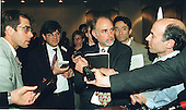 Washington, DC - June 8, 1998 -- William J. Baer holds court with reporters following the conclusion of his press confrence detailing the FTC complaint against Intel this afternoon.<br /> Credit: Ron Sachs / CNP
