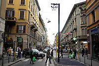 milano, quartiere sarpi - chinatown. telecamere di controllo degli ingressi automobilistici nella ztl di via paolo sarpi --- milan, sarpi district - chinatown. a video camera for traffic control in paolo sarpi street