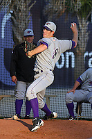 Winston-Salem Dash pitcher Matt Heidenreich #28 warming up in the bullpen before a game against the Myrtle Beach Pelicans at Tickerreturn.com Field at Pelicans Ballpark on April 16, 2012 in Myrtle Beach, South Carolina. Myrtle Beach defeated Winston Salem by the score of 2-0. (Robert Gurganus/Four Seam Images)