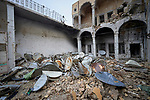 Rusting satellite dishes piled in the courtyard of the Al Tahira Catholic Church in the Old City of Mosul, Iraq, on November 30, 2018. Built sometime in the 7th or 8th Centuries, the church was blown up by ISIS combatants during the final moments of the 2017 Battle of Mosul. ISIS had confiscated the satellite dishes from the population as it was prohibited to watch outside television.