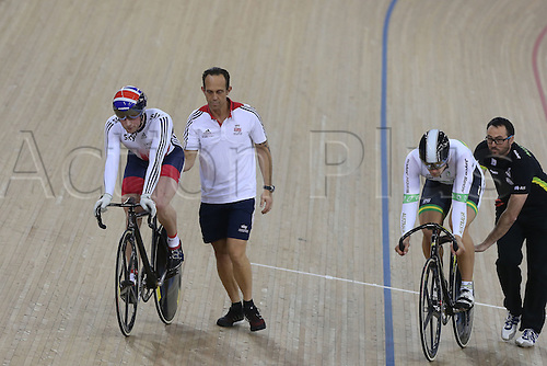 05.03.2016. Lee Valley Velo Centre, Lnodn England. UCI Track Cycling World Championships Mens Individual Sprint Final. KENNY Jason (GBR) vs GLAETZER Matthew (AUS)