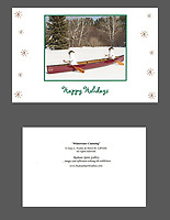 """Whitewater Canoeing"" holiday cards, cards/envelopes, blank inside, approx. 5""x7"" folded; individual or pack of 10.<br />