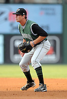 First baseman Ryan Scoma (29) of the Augusta GreenJackets, Class A affiliate of the San Francisco Giants, in a game against the Greenville Drive on August 27, 2011, at Fluor Field at the West End in Greenville, South Carolina. Greenville defeated Augusta, 10-4. (Tom Priddy/Four Seam Images)