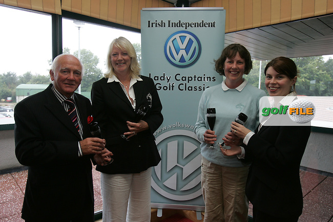 Irish Independent Lady Captains Golf Classic in Headford G.C..Louise Collins Right presents South County Shiela Stubbs and Liz Mead-Flynn with htere second prise also Pictured Cecil Wheelan.Photo: Fran Caffrey/ Newsfile.