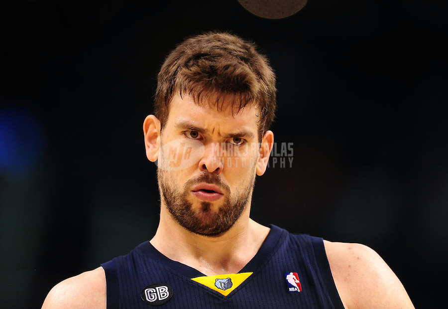 Jan. 28, 2012; Phoenix, AZ, USA; Memphis Grizzlies center Marc Gasol react against the Phoenix Suns at the US Airways Center. The Suns defeated the Grizzlies 86-84. Mandatory Credit: Mark J. Rebilas-USA TODAY Sports
