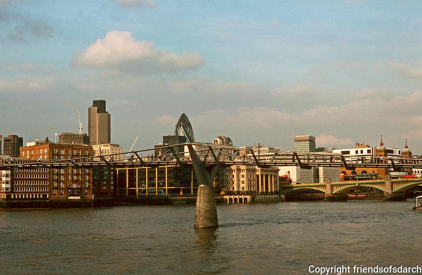 London:  4.  Panorama--from Tate Modern, beyond Millennium Bridge. Southwark Bridge in background, Nat. Westminster Tower and Gherkin.  Photo '90.
