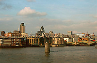 London:  4.  Panorama--from Tate Modern, beyond Millennium Bridge. Southwark Bridge in background, Nat. Westminster Tower and Gherkin.  Photo '90.