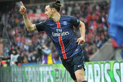 02.04.2016. Paris, France. French League 1 football. Paris St Germain versus Nice.  ZLATAN IBRAHIMOVIC (psg) celebrates his goal