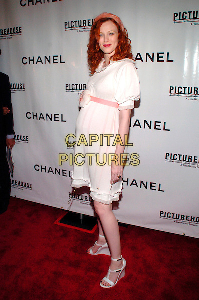 "SARAH SOPHIE FLICKER.Chanel and Picturehouse Screening of ""La Vie En Rose"" at the Paris Theater, New York City, New York, USA,.31 May 2007..full length white dress pink belt flower wedges shoes.CAP/ADM/BL.©Bill Lyons/AdMedia/Capital Pictures. *** Local Caption ***"