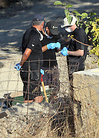 Pictured: Forensics officers work at the rear of the farmhouse where Ben Needham disappeared from on the ground where an extension was demolished in Kos, Greece. Wednesday 05 October 2016<br /> Re: Police teams led by South Yorkshire Police, searching for missing toddler Ben Needham on the Greek island of Kos have moved to a new area in the field they are searching.<br /> Ben, from Sheffield, was 21 months old when he disappeared on 24 July 1991 during a family holiday.<br /> Digging has begun at a new site after a fresh line of inquiry suggested he could have been crushed by a digger.