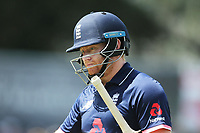 England's Jonny Bairstow dejected after his early dismissal.<br /> New Zealand Blackcaps v England. One Day International Cricket. Seddon Park, Hamilton, New Zealand on Sunday 25 February 2018.<br /> <br /> Copyright photo: &copy; Bruce Lim / www.photosport.nz