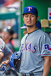 1 June 2014: Texas Rangers starting pitcher Yu Darvish stands in the dugout during a game against the Washington Nationals at Nationals Park in Washington, DC. The Rangers shut out the Nationals 2-0 to salvage the third the third game of their 3-game inter-league series. Mandatory Credit: Ed Wolfstein Photo *** RAW (NEF) Image File Available ***
