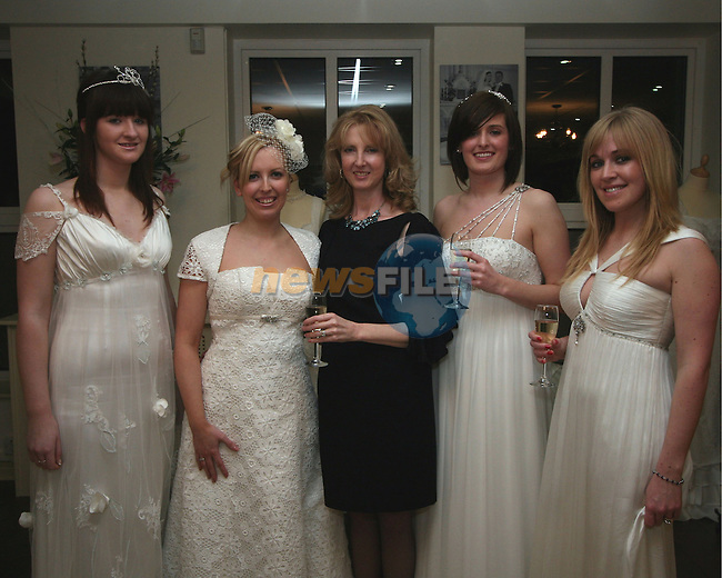 Sabrina Gallagher, Yvonne O'Reilly, Sarah Houston (Dress Designer), Rebecca Sexton and Moira Devine at the Opening of Frilly Frocks Bridal Boutique, Blindgate House...Photo NEWSFILE/Jenny Matthews.(Photo credit should read Jenny Matthews/NEWSFILE)....This Picture has been sent you under the condtions enclosed by:.Newsfile Ltd..The Studio,.Millmount Abbey,.Drogheda,.Co Meath..Ireland..Tel: +353(0)41-9871240.Fax: +353(0)41-9871260.GSM: +353(0)86-2500958.email: pictures@newsfile.ie.www.newsfile.ie.FTP: 193.120.102.198.