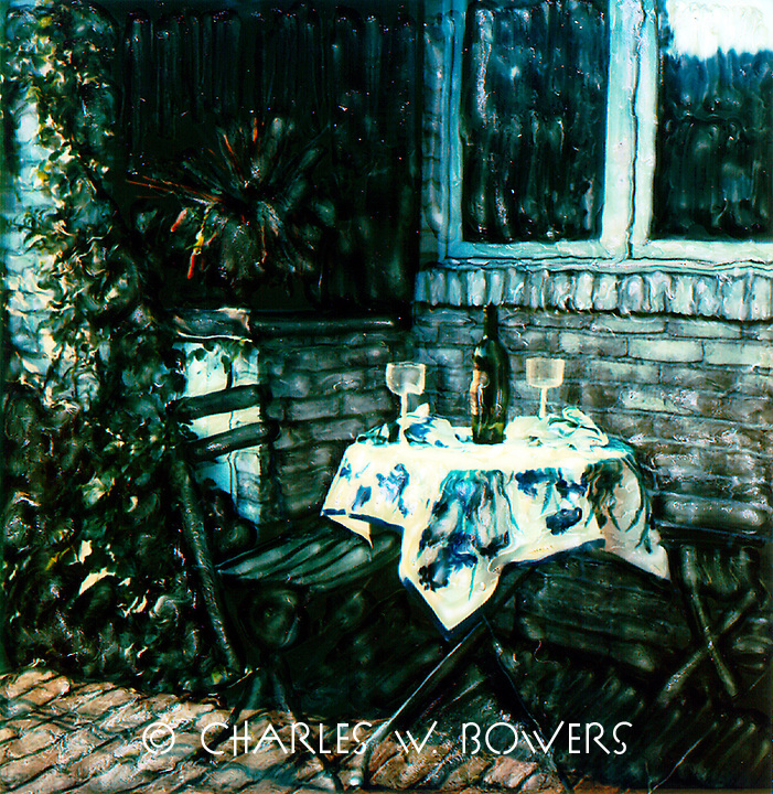 A romantic dinner on the patio. Open the wine and have a good time with good wine, good food and your best friend.<br /> <br /> -Limited Edition of 50 Prints