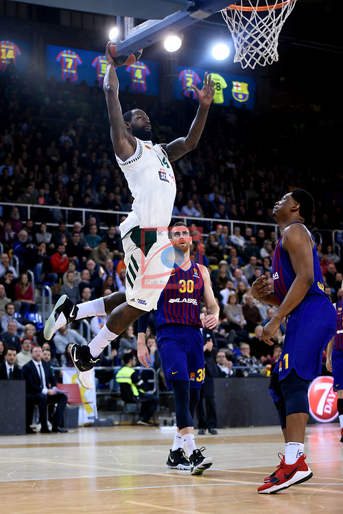 Turkish Airlines Euroleague 2018/2019. <br /> Regular Season-Round 18.<br /> FC Barcelona Lassa vs Panathinaikos Opap Athens: 79-68.<br /> James Gist.