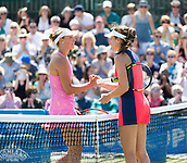 June 15th 2017, Nottingham, England; WTA Aegon Nottingham Open Tennis Tournament day 6;  Yanina Wickmayer of Belgium on the left congratulates Johanna Konta of Great Britain who wins the second round match by to sets to love