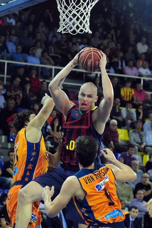 League ACB-Endesa 2014/2015 - Game: 07.<br /> FC Barcelona vs Valencia Basket Club: 76-57.<br /> Loncar, Lampe &amp; Van Rossom.