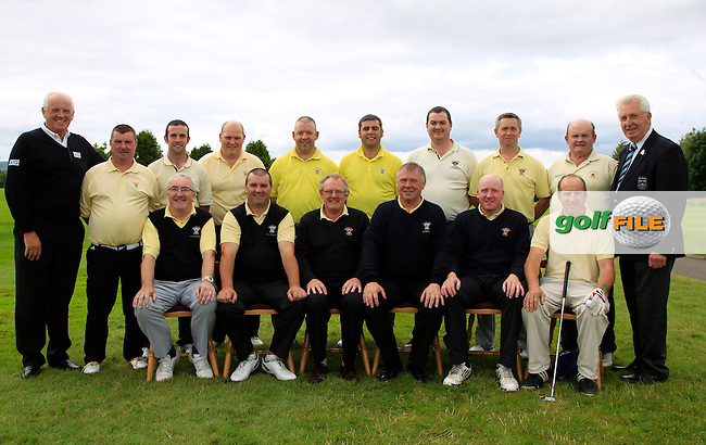 The Newcastle West Team with Brendan McKenna (Sponsor AIG) and John Moloughney (Chair Munster branch G.U.I) during the Final round of the Munster Bruen &amp; Purcell Shield Finals at East Clare Golf Club on Sunday 19th July 2015.<br /> Picture:  Golffile | Thos Caffrey All photo usage must carry mandatory copyright credit (&copy; Golffile | Thos Caffrey)