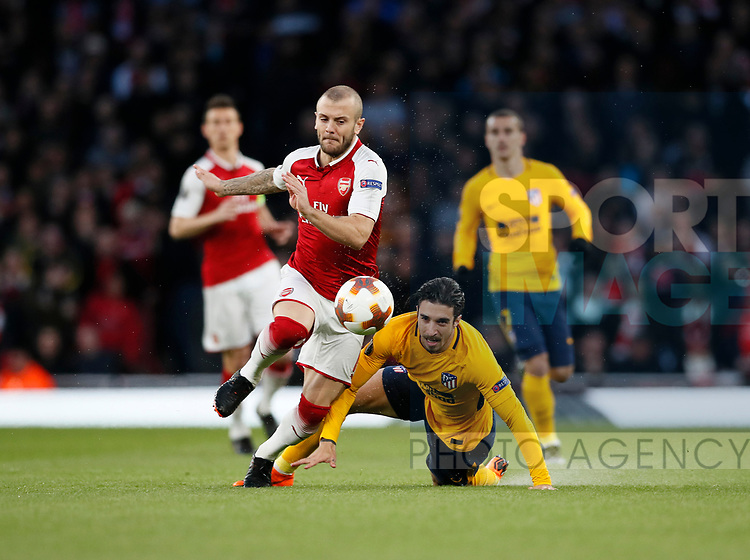 Arsenal's Jack Wilshere tussles with Atletico's Sime Vrsaljko during the Europa League Semi Final 1st Leg, match at the Emirates Stadium, London. Picture date: 26th April 2018. Picture credit should read: David Klein/Sportimage