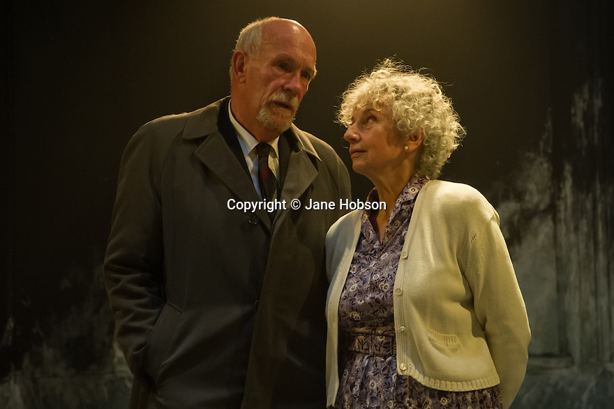 A LIFE, by Hugh Leonard, directed by Eleanor Rhode, opens at the Finborough Theatre. Picture shows: Hugh Ross (Drumm) and Kate Binchy (Mary).