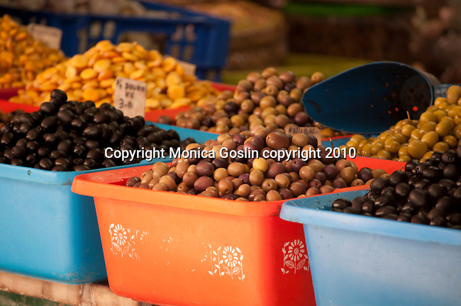 Olives for sale at the Mercado do Bolhao in Porto, Portugal.