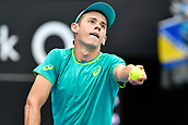 10th January 2018, Sydney Olympic Park Tennis Centre, Sydney, Australia; Sydney International Tennis, round 2; Alex De Minaur (AUS) prepares to serve in his match against Damir Dzumhur (BIH)