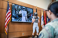 """MSU Athletics unveils their new football uniforms honoring G.V. """"Sonny"""" Montgomery at the Nusz Hall Center for Americas Veterans. (photo by Logan Kirkland / © Mississippi State University)"""