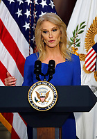 Counselor to the President Kellyanne Conway delivers remarks to High Intensity Drug Trafficking Area (HIDA) directors and deputy directors in the Indian Treaty Room of the Eisenhower Executive Office Building on the White House grounds, Washington, DC, February 7, 2019.<br /> CAP/MPI/RS<br /> ©RS/MPI/Capital Pictures