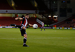 Ched Evans of Sheffield Utd scoring the equalising goal during the Carabao Cup First Round match at Bramall Lane Stadium, Sheffield. Picture date: August 9th 2017. Pic credit should read: Simon Bellis/Sportimage