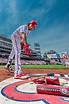 29 April 2017: Washington Nationals third baseman Anthony Rendon releases his warm-up bat in the on-deck circle prior to his at bat against the New York Mets at Nationals Park in Washington, DC. The Mets defeated the Nationals 5-3 to take the second game of their 3-game weekend series. Mandatory Credit: Ed Wolfstein Photo *** RAW (NEF) Image File Available ***