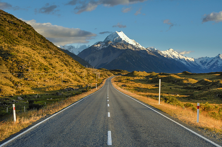 Spectacular view of Aoraki Mt Cook summit above SH80- road to Mount Cook village.