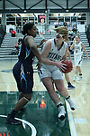 23 February 2018:  Maddie Merritt steps into the paint looking for the hoop during an NCAA women's CCIW Semi-Final basketball game between the Elmhurst Bluejays and the Illinois Wesleyan Titans in Shirk Center, Bloomington IL