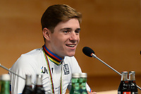 Picture by Richard Blaxall/SWpix.com - 27/09/2018 - Cycling 2018 Road Cycling World Championships Innsbruck-Tiriol, Austria - Men's Junior Race - Remco Evenepoel of Belgium celebrates winning Gold, Press Conference